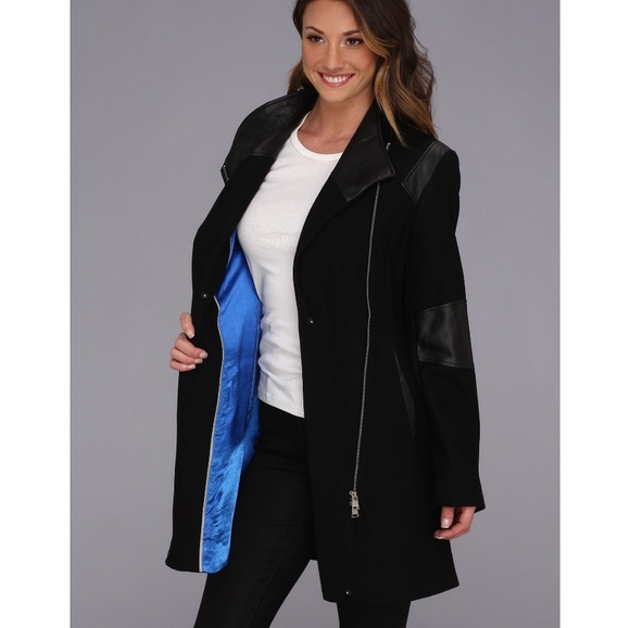 Calvin Klein asymmetric coat w/ faux leather trim